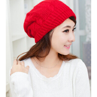 兔毛帽子女士冬天新款 冬季帽子女 韩版 潮可爱贝雷帽毛线帽针织帽