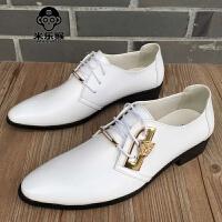 米乐猴 潮牌尖头男士白色小皮鞋男韩版潮流商务休闲鞋英伦风内增高皮鞋发型师