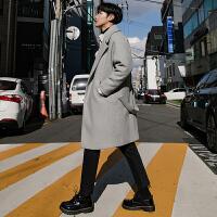 英伦风中长款毛呢大衣男韩版秋冬季妮子风衣男士反季羊绒呢子外套 灰色 M