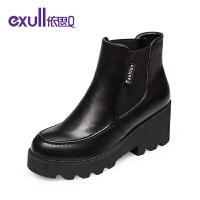 依思q冬季新款厚底粗跟坡跟女鞋英伦时尚圆头短靴子