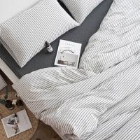 裸睡无印全棉天竺棉针织棉四件套被单床笠式床上1.8m简约条纹 1.8米床 加大(四件套) 床单式