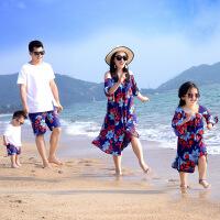 2019 亲子装夏装一家三口四口全家装母女韩版短袖连衣裙沙滩裙套装 图片色