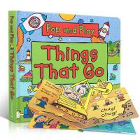英文原版 Pop and Play Things That Go 会跑会动的东西交通工具STEM科普 纸板立体书 亲子