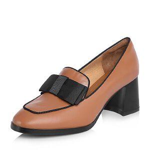 BASTO/百思图2018春季专柜同款牛皮蝴蝶结粗跟浅口女单鞋A2101AQ8