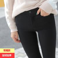 加绒打底裤女外穿加长2018冬季新款韩版黑色高腰显瘦紧身小脚长裤