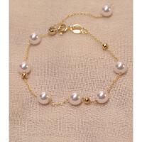 珍珠银珠手链女18k金可调节手串手镯气质简约日韩潮 80488珍珠可调节银珠手链