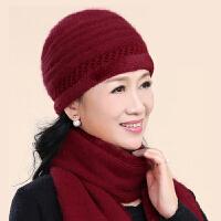 兔毛针织毛线帽老年人帽子女冬季奶奶加绒保暖帽中老年妈妈帽围巾