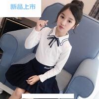 女童长袖t恤中大童白色娃娃领上衣2018新款童装春装儿童打底衫女