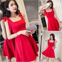 红色连衣裙女夏2018新款气质显瘦低胸露背裙子夜店女装性感吊带裙