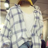 韩版宽松中长款格子衬衣2017春季新款长袖衬衫女学生防晒衫外套潮 兰格 均码