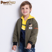 【3件4折 到手价:279】Pawinpaw卡通小熊童装秋男童字母夹克衫中小童休闲夹克