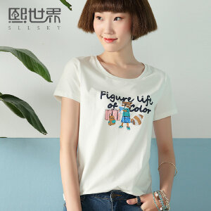 熙世界印花短袖T恤女2017夏装新款修身显瘦圆领上衣女装102ST740