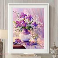 欧式花瓶十字绣客厅小幅简约现代餐厅小画十字绣卧室牡丹花卉挂画