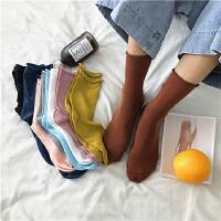 新款韩版袜子女纯色卷边袜松口糖果色女袜壹改