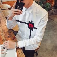 青年韩版长袖衬衫男士春秋季个性印花衬衣潮男中国风英伦寸衫