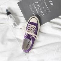 【多色、糖果色】2018新款ins紫色帆布鞋1970S港风女鞋韩版原宿学生休闲滑板鞋单鞋女8183BE透气运动鞋休闲鞋