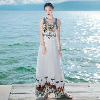 夏季新品女装修身刺绣吊带裙子雪纺连衣裙长裙波西米亚海边沙滩裙 白色 XZC390
