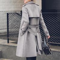 风衣女中长款2018春装新款女装英伦大衣时尚气质修身麂皮绒外套 灰色 6101