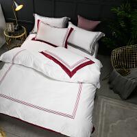 【包邮】伊迪梦家纺 全棉婚庆提花绣花四件套 大红色纯棉结婚床上用品多件套五件套六件套七件套 1.5/1.8/2.0m米床ND301