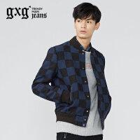 gxg.jeans男装冬季蓝黑格棒球服修身羊毛休闲夹克外套64621100