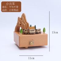 旋转木马音乐盒水晶球八音盒木质天空之城七夕生日礼物女生送女友