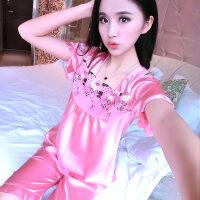 睡衣可爱女士夏季短袖套装薄款性感两件套冰丝丝绸春秋新款家居服