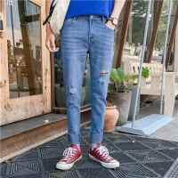 港风破洞裤子男士修身百搭牛仔裤韩版潮流个性贴标褶边小脚九分裤