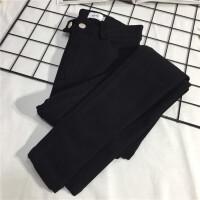 2018春季新品外穿弹力两扣裤子女修身打底裤小脚黑色铅笔裤子女