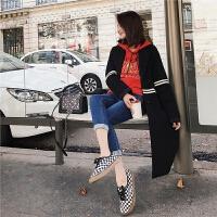毛呢外套女2018秋冬新款韩版气质条纹直筒中长款翻领羊毛呢子大衣