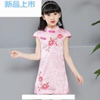 儿童旗袍夏女童短袖连衣裙唐装绣花女孩中国风礼服古筝演出服