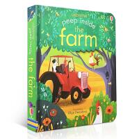 【全店300减100】英文原版儿童绘本 Peep Inside the Farm 启蒙早教翻翻洞洞纸板书 洞洞书 Usb