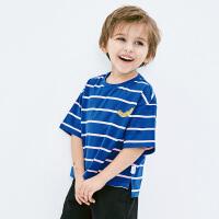 【限时1件6折 2件5.5折】迷你巴拉巴拉男宝宝短袖纯棉T恤2019夏装新品儿童条纹圆领打底衫