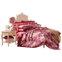 富安娜家纺 真丝提花床品四件套欧式奢华床单被套