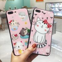 蝴蝶结猫咪iPhone8plus手机壳玻璃苹果6plus可爱萌宠情侣款7P全包边X外壳Xs Max保护套7个性创意6小