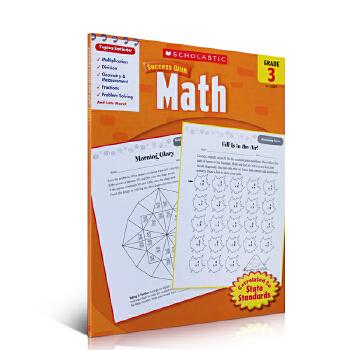 进口英文原版正版 Scholastic Success with Math, Grade 3学乐成功系列 成功英语:数学三年级练习本 英语启蒙学习家庭教育带答案