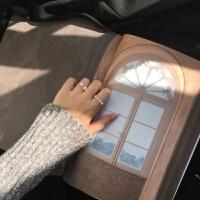 珍珠微镶锆石双层戒指组合套装简约气质戒指女日韩潮人 2个一套玫瑰金色 超精致