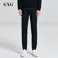 GXG休闲裤男装 秋季男士时尚青年潮流都市修身黑色休闲长裤子男