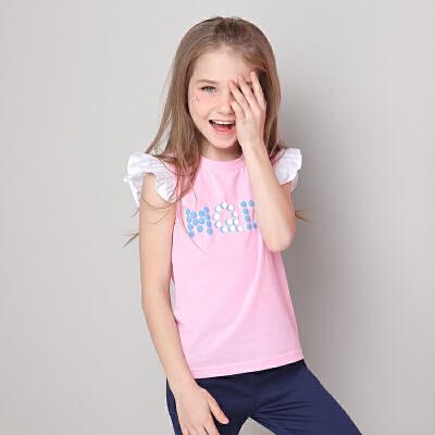 【61开门红 每满200-100】米奇丁当女童小飞袖短袖T恤夏装2018新款中大童儿童圆领运动体恤