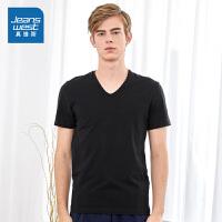 真维斯男装 2019夏装新款 V领净色短袖T恤