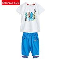 探路者童装 儿童短袖T恤两件套夏季男童纯棉针织短裤套装