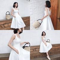 2018夏季新款礼服露肩长裙吊带连衣裙气质韩版白色裙子女伴娘裙仙 白色