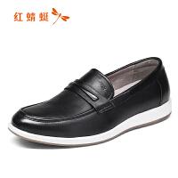 红蜻蜓休闲皮鞋男士真皮单鞋套脚鞋舒适爸爸鞋懒人鞋
