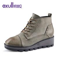 依思q新款中跟坡跟厚底防水台短靴方头系带女靴