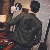 新款2018春秋男装潮流青年刺绣棒球服韩版男士修身外套休闲夹克上