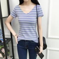 2018春夏季新款低领百搭条纹t恤女短袖韩版大V领修身上衣半袖体恤