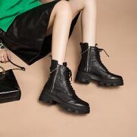玛菲玛图秋冬真皮马丁靴女欧美中跟女短靴时尚百搭厚底短筒靴小裸靴时装靴3508-1