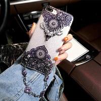 欧美iPhone7 plus手机壳苹果6S水钻链条8/7P i6/6s 软壳闪粉鹿(带手链)