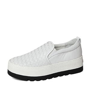 Belle/百丽春季专柜同款编织猪皮女鞋(自编)BEAB3AM6小白鞋运动鞋女小白鞋女女乐福鞋