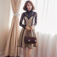 秋冬新款女装韩版气质名媛小香风修身显瘦性感蕾丝吊带连衣裙