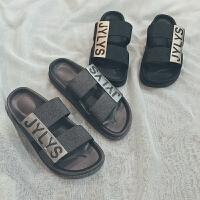 户外沙滩鞋凉拖鞋浴室防滑拖港风夏季新款韩版男士拖鞋一字拖居家